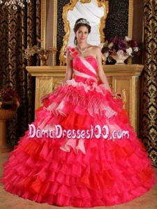 Red Ball Gown One Shoulder Floor-length Organza Ruffles and Beading Quinceanera Dress
