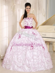 Santa Cruz City White Organza Strapless Quinceanera Dress With Embroidery Decorate