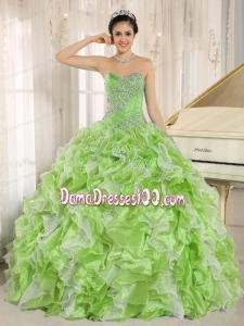 Spring Green Beaded Bodice and Ruffles Custom Made For 2013 Quinceanera Dress