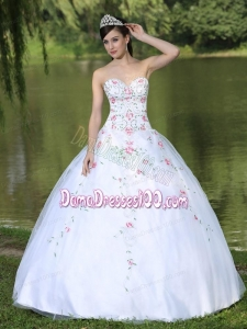 Sweetheart Organza Quinceanera Dress For Sweet 16 With Appliques Decorate