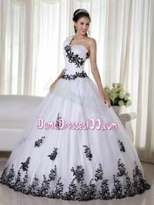 White Ball Gown One Shoulder Floor-length Taffeta and Organza Embroidery Quinceanera