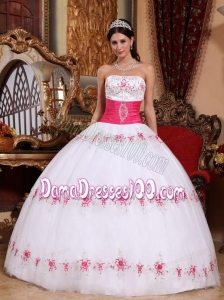 White Ball Gown Strapless Floor-length Taffeta and Tulle Appliques Quinceanera Dress