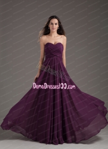 2014 Popular Dama Dress Sweetheart Empire Dark Purple Ruching Chiffon