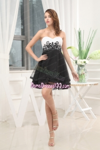 Appliques Black and White A-Line Sweetheart Dama Dress