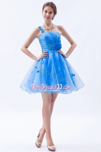 Blue A-line Dama Dress One Shoulder Appliques Mini-length