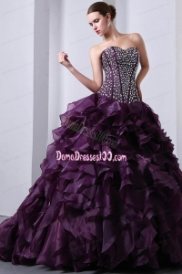 Purple A-Line / Princess Sweetheart Brush Train Organza Beading and Ruffles Quinceanea Dress