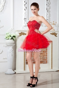 Red Dama Dress A-line Sweetheart Mini-length Tulle Beading