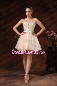 Rhinestones Strapless Mini-length For Club Dama Dress