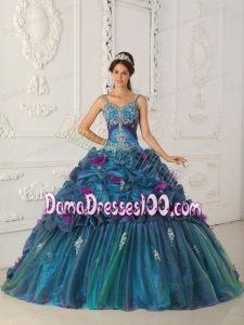 Teal Ball Gown Straps Chapel Train Organza Quinceanera Dress