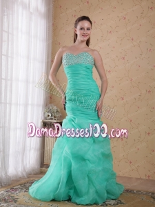 Turquoise Column Sweetheart Brush Train Organza Beading and Ruch Dama Dress