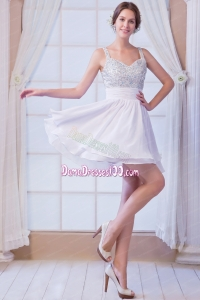 White A-line Straps Mini-length Chiffon Beading Dama Dress