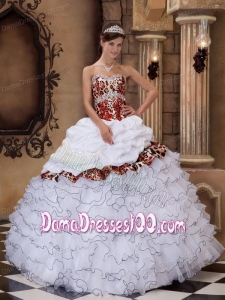 White Ball Gown Sweetheart Floor-length Organza and Leopard Ruffles Quinceanera Dress