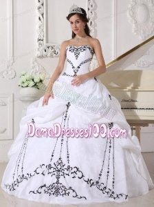 White Ball Gown Sweetheart Floor-length Satin and Taffeta Embroidery Quinceanera Dress