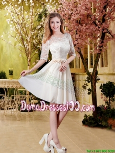2016 Cheap Champagne Short Dama Dresses with Lace and Belt