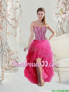 2016 Elegant High Low Sweetheart Beaded and Ruffles Dama Dresses in Hot Pink