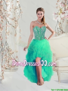 Comfortable High Low Beaded and Ruffles Apple Green Dama Dresses for 2016