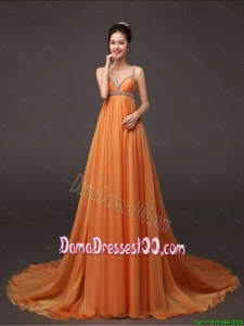 Fashionable Court Train Prom Gown with Beading and Ruching