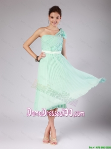 Discount One Shoulder Side Zipper Dama Dresses in Apple Green