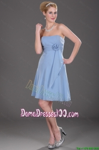 Popular Strapless Short Dama Dresses with Hand Made Flowers