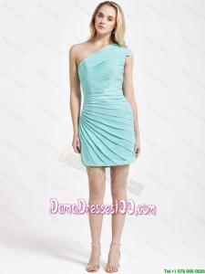 Romantic Short One Shoulder Ruching Dama Dress in Turquoise for 2016