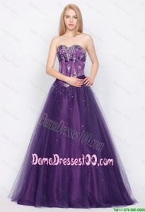Popular A Line Sweetheart Lace Up Dama Gowns in Purple for 2016