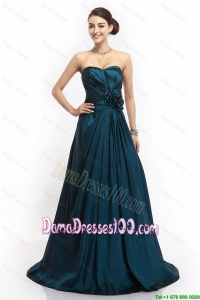 Pretty Sweetheart Hand Made Flowers Dama Dresses in Navy Blue