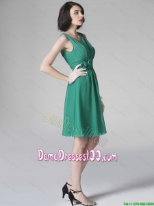 Hot Sale Scoop Green Dama Dresses with Hand Made Flowers for 2016