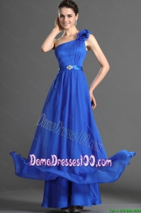 Luxurious Beading and Hand Made Flowers Dama Dresses in Blues for 2016