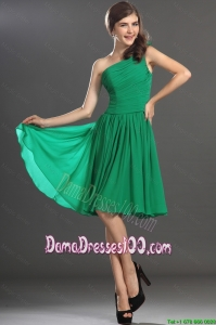 New Arrivals One Shoulder Short Dama Dresses in Green for 2016
