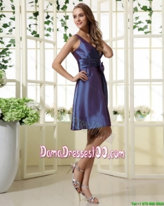 2016 Beautiful Short Straps Cheap Dama Dresses with Bowknot
