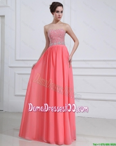 2016 Popular Watermelon Sweetheart Dama Dresses with Beading