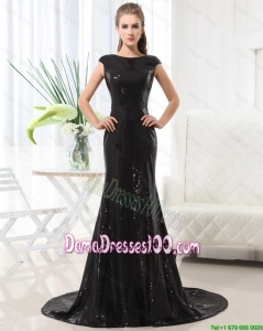 Beautiful Column Bateau Brush Train Sequins Dama Dresses in Black