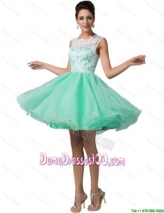 Elegant Laced Scoop A Line Dama Dresses in Apple Green
