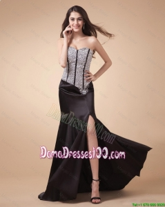 Fashionable Column Sweetheart Beaded Dama Dresses with High Slit