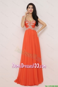New Arrivals Brush Train Dama Dresses with High Slit and Beading