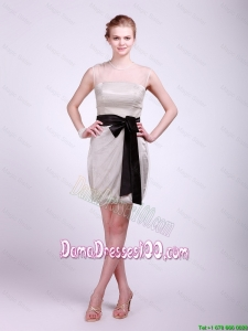 Cute Column Grey Dama Dresses with Sash and Ruching