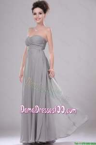 Most Popular Chiffon Grey Dama Dresses with Ruching for 2016