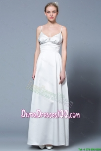 2016 Empire Spaghetti Straps Simple Dama Dresses in White