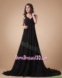 Cute Appliques Black Prom Dress with Court Train