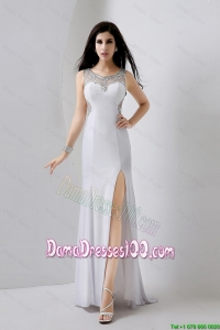Cute Beaded Brush Train Dama Dresses with High Slit