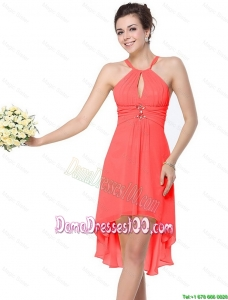 Luxurious High Low Beaded Dama Dresses with Criss Cross