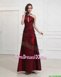 Most Popular Straps Burgundy Dama Dress with Beading for 2016