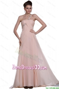 Discount Beaded Brush Train Dama Gowns with One Shoulder