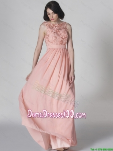 New Style Scoop Pink Dama Dresses in Lace for 2016 Spring