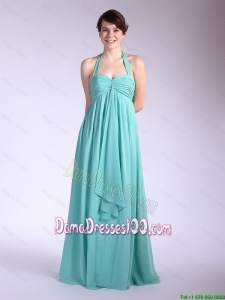 Beautiful Brush Train Turquoise Dama Dresses with Halter Top