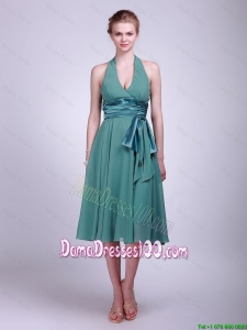 Discount Halter Top Short Turquoise Dama Dresses with Ribbons