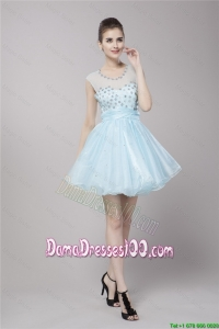 Fabulous Scoop Light Blue Dama Dresses with Beading