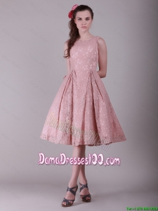 Fashionable Ruching Lace Dama Dresses in Peach for 2016