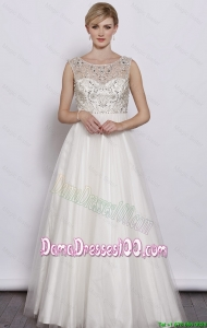 Junior A Line Scoop White Dama Dresses with Beading