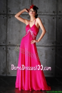 Pretty Empire Spaghetti Straps Criss Cross Dama Dresses with Beading for 2016